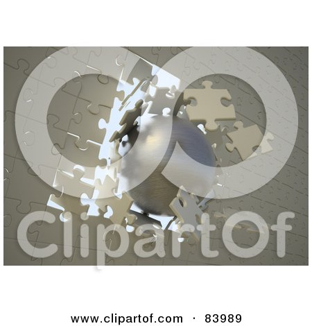 Royalty-Free (RF) Clipart Illustration of a 3d Gold Ball Breaking Through A Jigsaw Puzzle Wall by Mopic