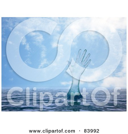 Royalty-Free (RF) Clipart Illustration of a 3d Water Hand Reaching Out From The Surface Against A Blue Sky by Mopic