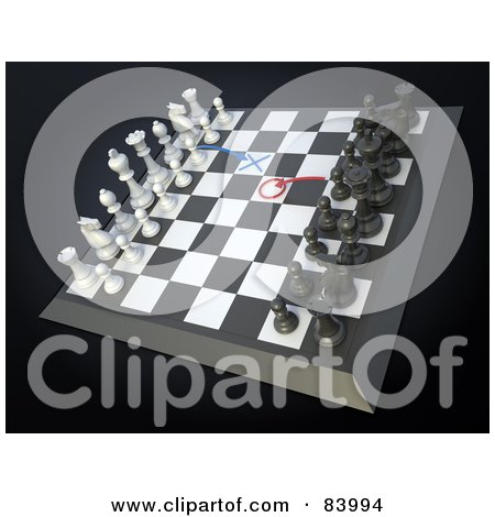 Royalty-Free (RF) Clipart Illustration of a 3d Chess Board With Strategic Moves Planned by Mopic