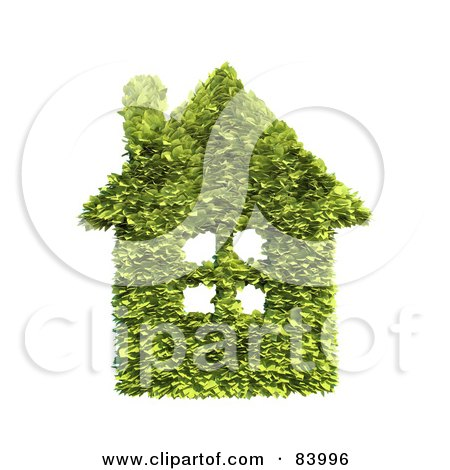 Royalty-Free (RF) Clipart Illustration of a 3d Leafy House With A Chimney And Windows by Mopic