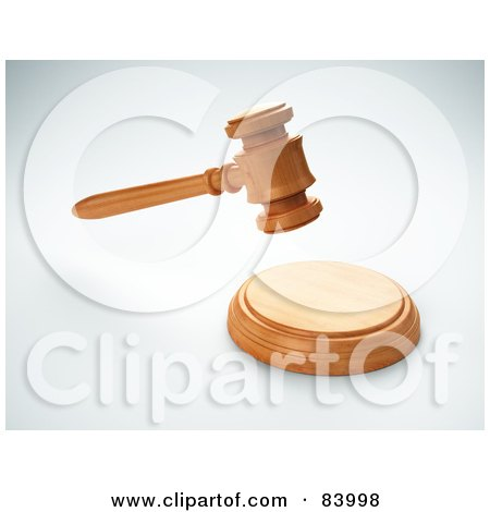 Royalty-Free (RF) Clipart Illustration of a 3d Judge Or Auction Gavel Above A Sound Block by Mopic