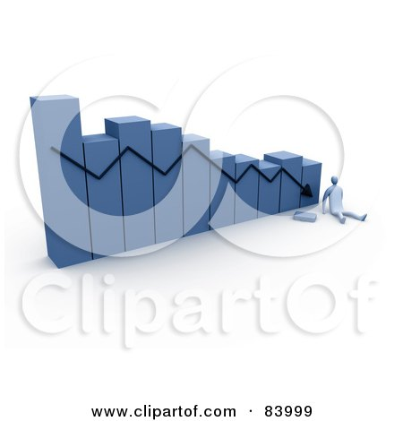 Royalty-Free (RF) Clipart Illustration of a 3d Blue Person At The Bottom Of A Decreasing Bar Graph by 3poD
