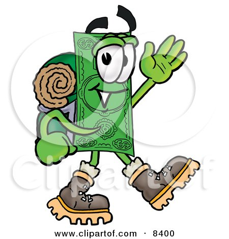 Clipart Picture of a Dollar Bill Mascot Cartoon Character Hiking and Carrying a Backpack by Toons4Biz