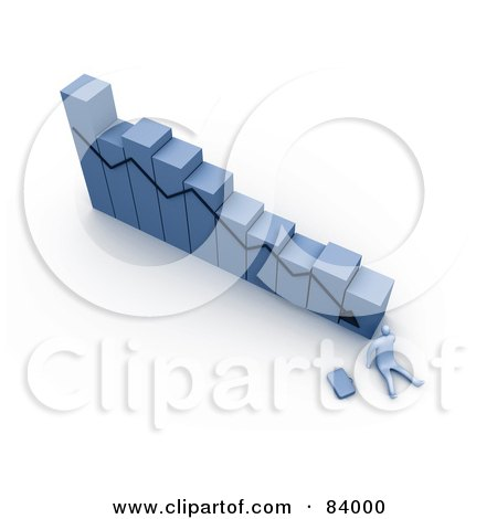 Royalty-Free (RF) Clipart Illustration of a 3d Blue Person At The Bottom Of A Declining Bar Graph by 3poD