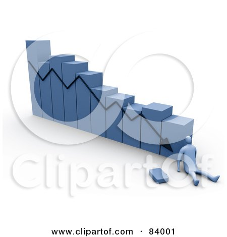 Royalty-Free (RF) Clipart Illustration of a 3d Blue Person At The Bottom Of A Failure Bar Graph by 3poD