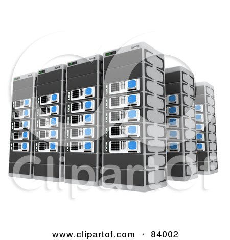 Royalty-Free (RF) Clipart Illustration of Three Rows Of 3d Server Racks by 3poD