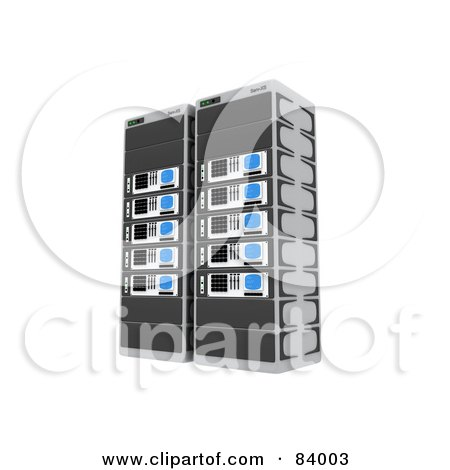 Royalty-Free (RF) Clipart Illustration of Two 3d Server Racks by 3poD