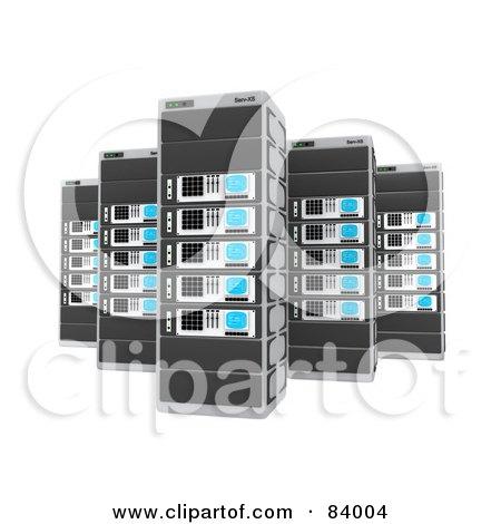 Royalty-Free (RF) Clipart Illustration of Tall 3d Server Racks by 3poD