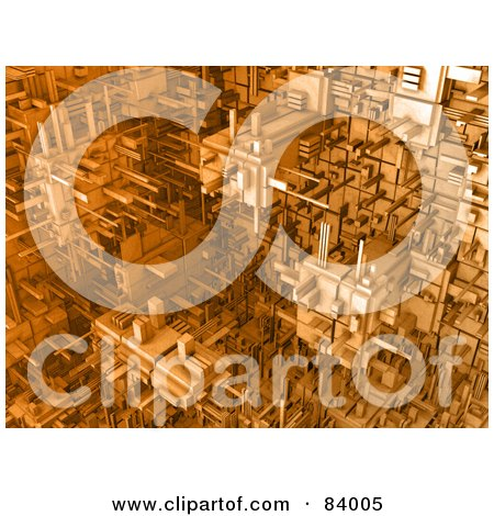 Royalty-Free (RF) Clipart Illustration of a 3d Orange Cubic Background Of Connections by 3poD