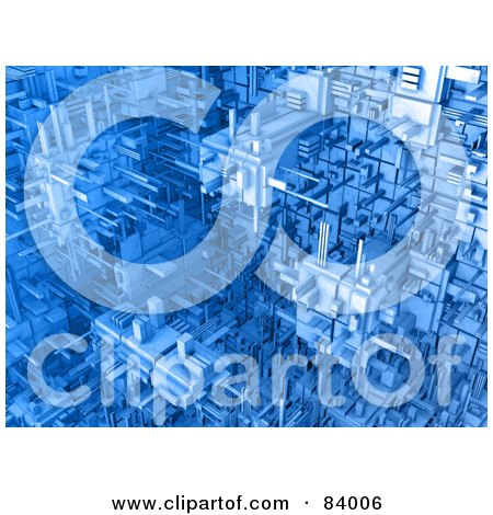 Royalty-Free (RF) Clipart Illustration of a 3d Blue Cubic Background Of Connections by 3poD