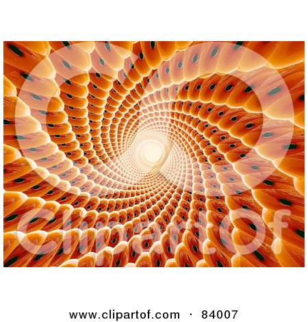 Royalty-Free (RF) Clipart Illustration of a 3d Abstract Orange Spiraling Tunnel Interior by 3poD