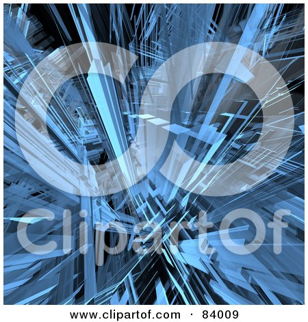Royalty-Free (RF) Clipart Illustration of a 3d Blue Shard Background by 3poD