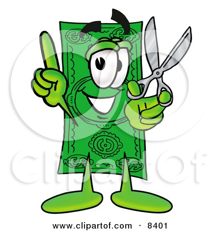 Clipart Picture of a Dollar Bill Mascot Cartoon Character Holding a Pair of Scissors by Toons4Biz