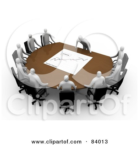 Royalty-Free (RF) Clip Art Illustration of a 3d Manager Leaning Over A Table At A Meeting, Discussing The Stats by 3poD