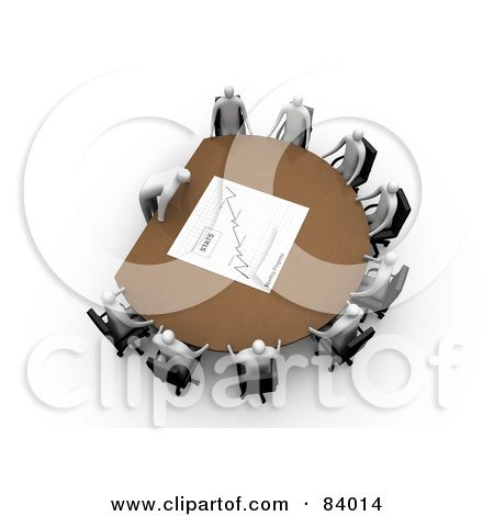 Royalty-Free (RF) Clipart Illustration of a 3d Boss Leaning Over A Table At A Meeting, Discussing The Stats by 3poD