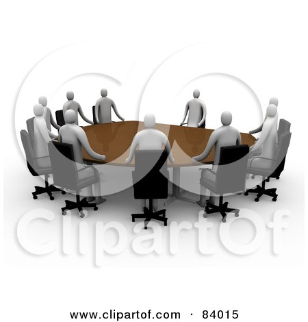 Royalty-Free (RF) Clipart Illustration of a Group Of 3d People Holding A Meeting by 3poD