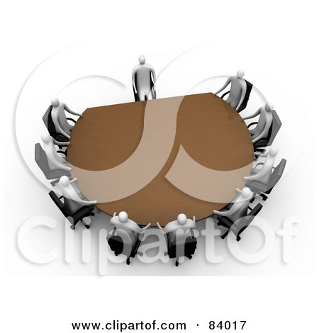 Royalty-Free (RF) Clipart Illustration of a Group Of 3d People Around A Meeting Table by 3poD
