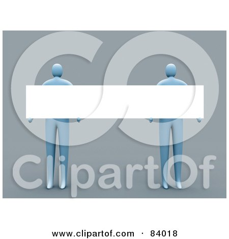 Royalty-Free (RF) Clipart Illustration of Two 3d Blue People Holding A Blank Sign by 3poD