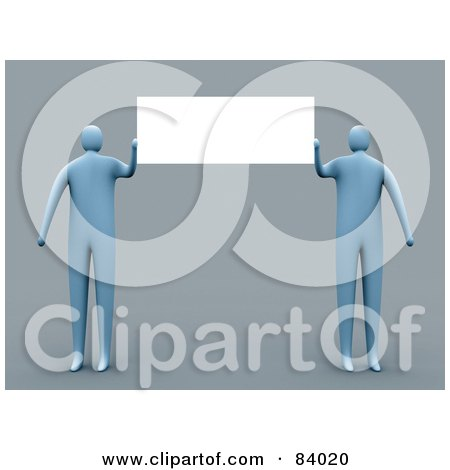 Royalty-Free (RF) Clipart Illustration of Two 3d Blue People Presenting A Blank Sign by 3poD