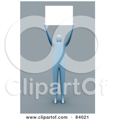 Royalty-Free (RF) Clipart Illustration of a 3d Blue Person Holding A Blank Sign Over His Head by 3poD