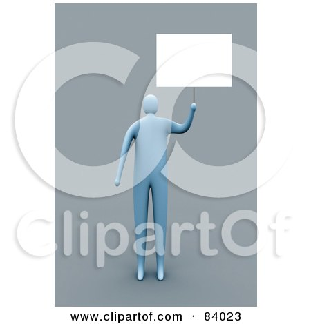 Royalty-Free (RF) Clipart Illustration of a 3d Blue Person Holding Up A Blank Sign by 3poD