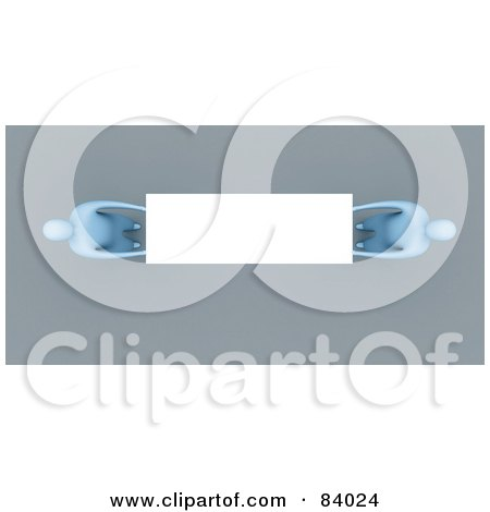 Royalty-Free (RF) Clipart Illustration of an Aerial View Of Two 3d Blue People Holding A Blank Sign by 3poD