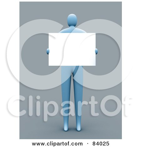Royalty-Free (RF) Clipart Illustration of a 3d Blue Person Holding A Blank Sign In Front Of His Chest by 3poD