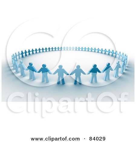 Royalty-Free (RF) Clipart Illustration of a 3d Circle Of Blue Paper People Holding Hands, On Shaded White by 3poD