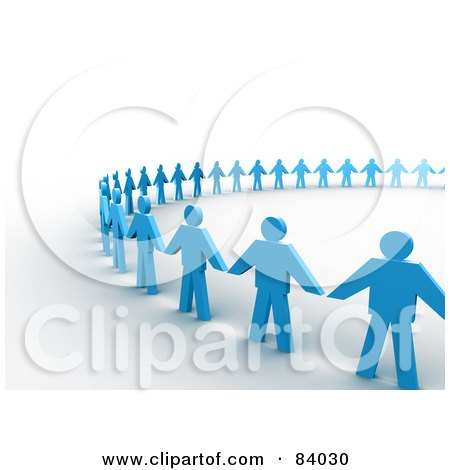 Royalty-Free (RF) Clipart Illustration of a Partial Circle Of 3d Blue Paper People Holding Hands, On Shaded White by 3poD