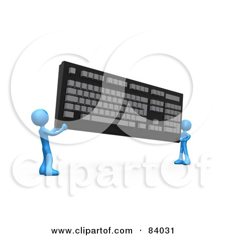 Royalty-Free (RF) Clipart Illustration of Two 3d Blue People Carrying A Large Computer Keyboard by 3poD
