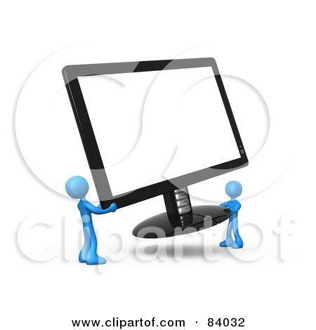 Royalty-Free (RF) Clipart Illustration of Two 3d Blue People Carrying A Computer Screen by 3poD