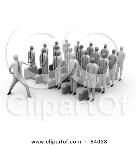 Royalty-Free (RF) Clipart Illustration of a 3d Group Of Businessmen Listening To Their Boss by 3poD