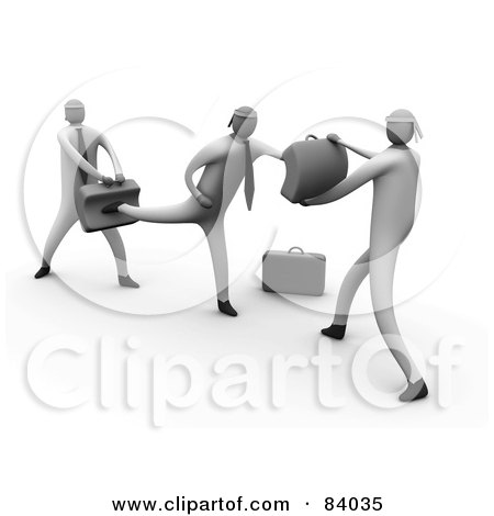 Royalty-Free (RF) Clipart Illustration of 3d Business Men Learning To Fight by 3poD