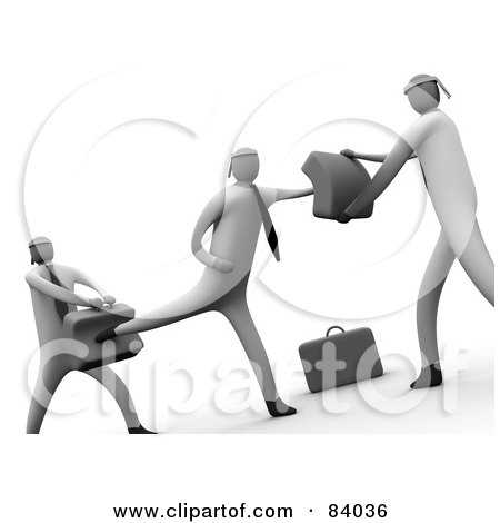 Royalty-Free (RF) Clipart Illustration of a Cropped Version Of 3d Businessmen Learning To Fight by 3poD