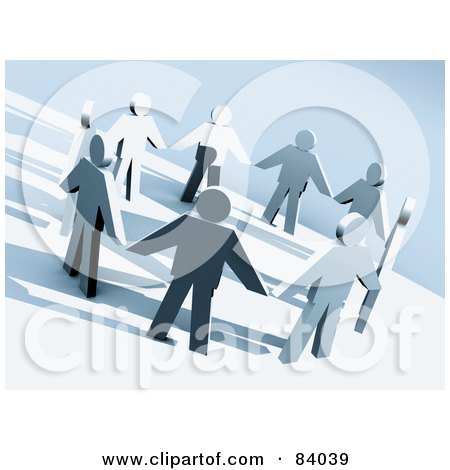 Royalty-Free (RF) Clipart Illustration of 3d Paper People Holding Hands In A Circle by 3poD
