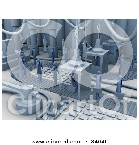 Royalty-Free (RF) Clipart Illustration of a 3d Factory Turning People Into Businessmen by 3poD