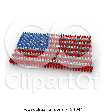 Royalty-Free (RF) Clipart Illustration of a 3d American Flag Made Of Red, Blue And White Paper People by 3poD