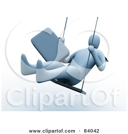 Royalty-Free (RF) Clipart Illustration of a 3d Businessman Holding Onto His Briefcase And Swinging by 3poD