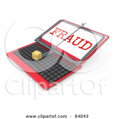 Royalty-Free (RF) Clipart Illustration of a 3d Red Laptop Computer Propped Open With A Mouse Trap And Fraud On The Screen by 3poD