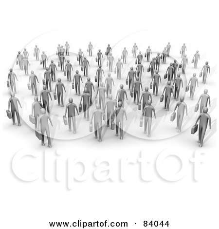 Royalty-Free (RF) Clipart Illustration of 3d Gray People Walking Forward With Briefcases by 3poD