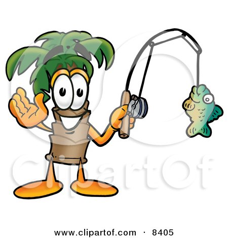 Clipart Picture of a Palm Tree Mascot Cartoon Character Holding a Fish on a Fishing Pole by Toons4Biz