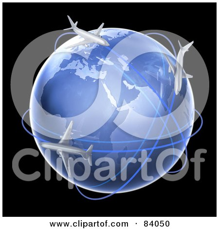 Royalty-Free (RF) Clipart Illustration of 3d Airplanes Flying Their Routs Around A Globe Over Black by Mopic