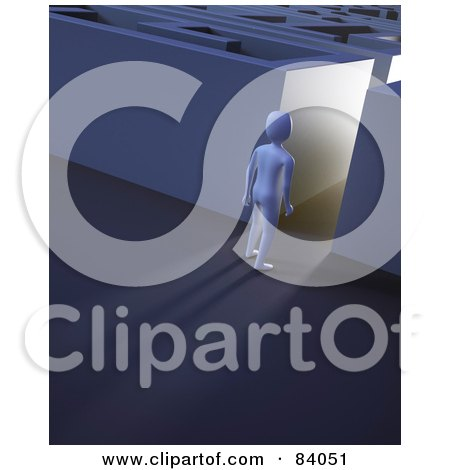 Royalty-Free (RF) Clipart Illustration of a 3d Human Figure Standing In A Glowing Maze Hallway by Mopic