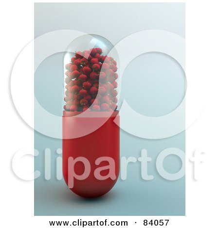 Royalty-Free (RF) Clipart Illustration of a Red And Trasnparent Pill Capsule Filled With 3d Strawberries by Mopic