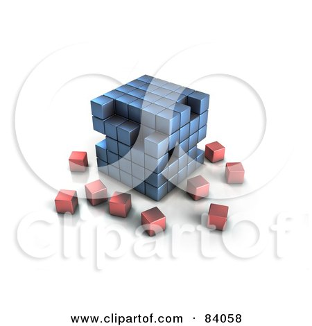 Royalty-Free (RF) Clipart Illustration of a Blue 3d Cubic Structure With Red Cubes Surrounding by Mopic