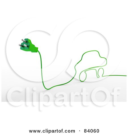 Royalty-Free (RF) Clipart Illustration of a 3d Green Electric Cable Car With A Plug by Mopic