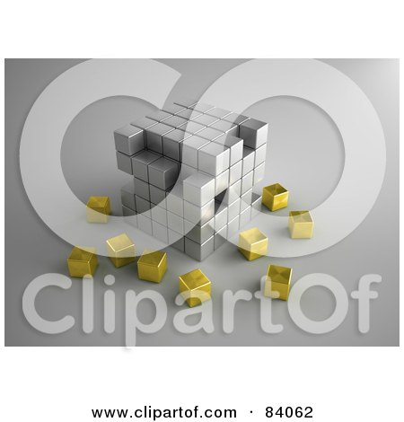 Royalty-Free (RF) Clipart Illustration of a Chrome 3d Cubic Structure With Gold Cubes Surrounding by Mopic