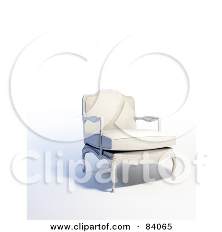 Royalty-Free (RF) Clipart Illustration of a 3d Old Fashioned White Arm Chair by Mopic