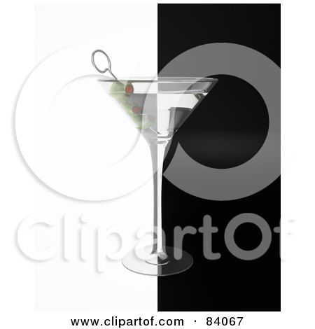 Royalty-Free (RF) Clipart Illustration of a 3d Martini Glass With Olives Centered Over Black And White by Mopic