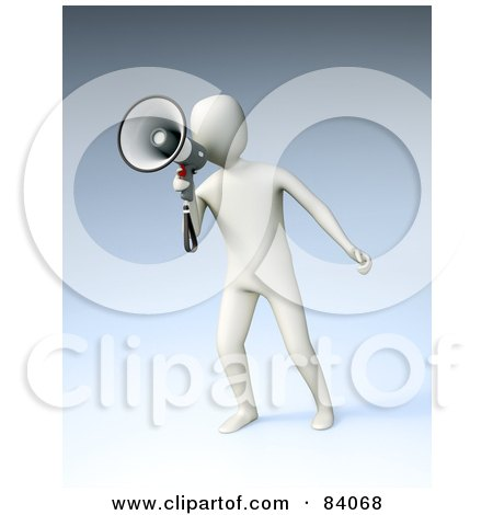 Royalty-Free (RF) Clipart Illustration of a 3d White Human Figure Announcing Through A Megaphone Over Blue by Mopic